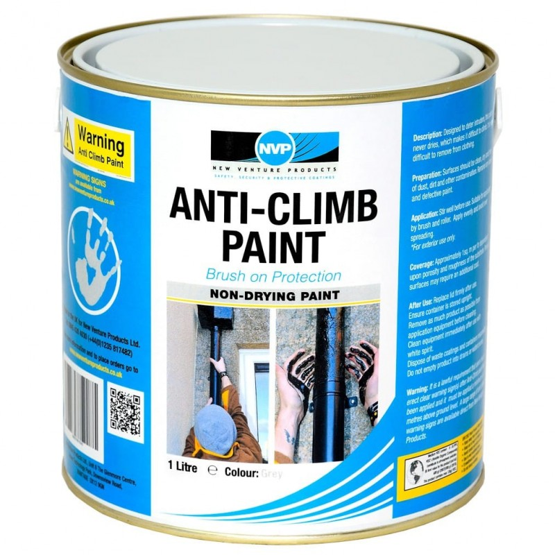Anti Climb Paint (Anti-Vandal & Anti-Intruder) - 1 litre Grey